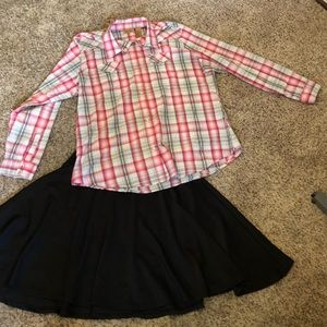 Wrangler pink and black long sleeve flannel print